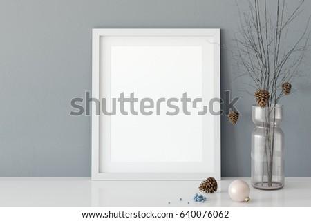 mock up posters in living room interior. Interior scandinavian style. 3d rendering, 3d illustration #640076062