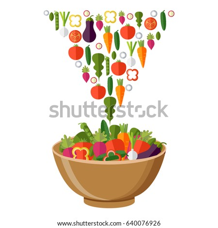 Fresh vegetables salad vector icon set. Vector illustration. Flat style organic icons set #640076926