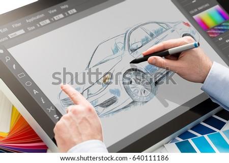 designer graphic drawing car creative work tablet screen sketch designing