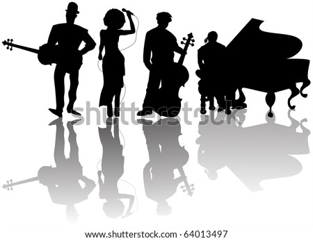Jazz players silhouettes against white background #64013497