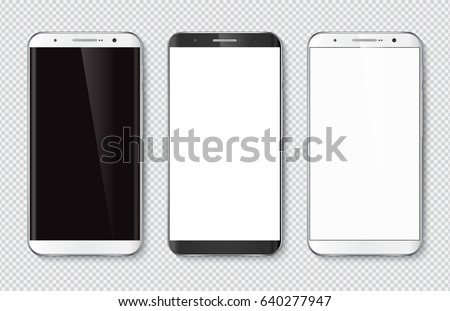 Realistic smartphone with blank screen. Isolated cell phone mockup. White and black. Vector illustration