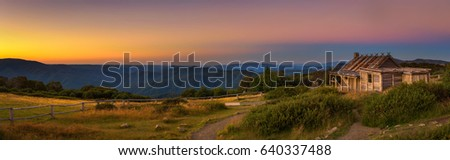 Sunset above Craigs Hut, built as the the set for Man from Snowy River movie in the Victorian Alps, Australia #640337488
