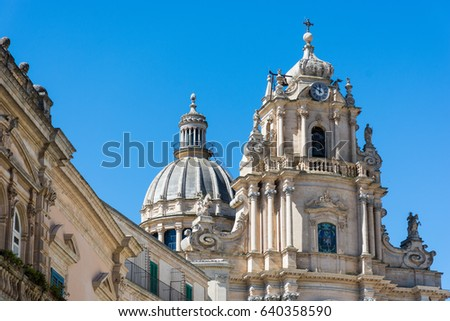 Abstract and conceptual of Sicilian Baroque, ancient town Ragusa. The places of Montalbano, Italian TV drama known throughout the world. From dusk to night, and the blue hour. #640358590