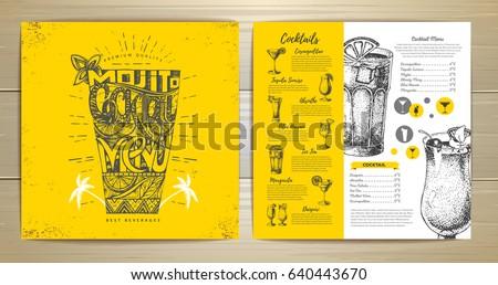Vintage typography cocktail menu design Royalty-Free Stock Photo #640443670