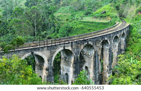 Demodara Nine Arch Bridge  Built in 1921 during British colonial times, this bridge is made using only rock, cement and bricks (no steel) and is the largest of its kind in Sri Lanka (still in use) #640555453