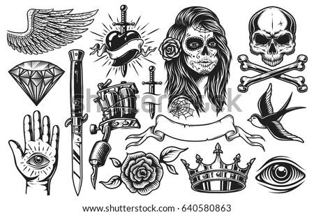 Set of vintage black and white tattoo elements isolated on white background Royalty-Free Stock Photo #640580863