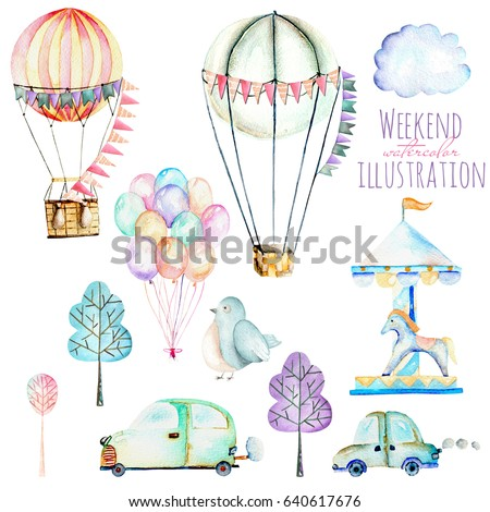 Illustration set with watercolor elements of weekend time and amusement park, hand drawn isolated on a white background, carousels, aerostats, air balloons and other