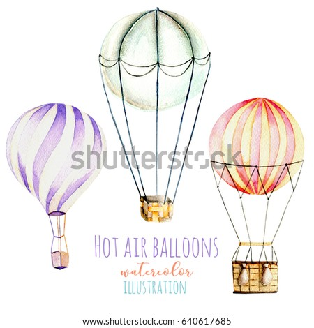 Illustration with watercolor hot air balloons, hand drawn isolated on a white background