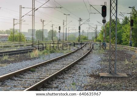 railway landscape, at sunset #640635967