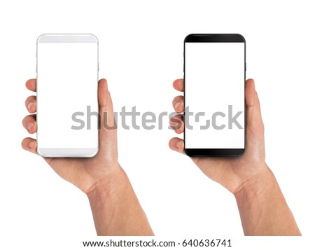 Smartphone in hand, bezel less modern design. Black and white version #640636741