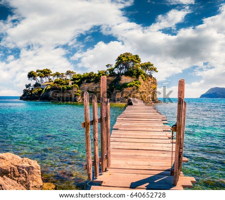 Bright spring view of the Cameo Island. Picturesque morning scene on the Port Sostis, Zakynthos island, Greece, Europe. Beauty of nature concept background. #640652728