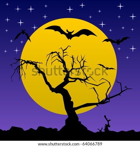 Tree night bat moon silhouette vector #64066789