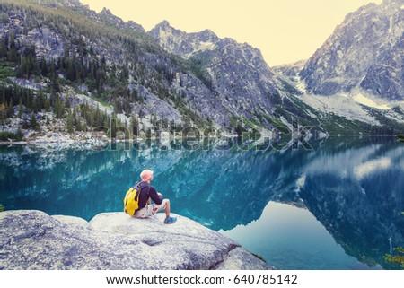 Beautiful Alpine lakes wilderness area  in Washington, USA #640785142