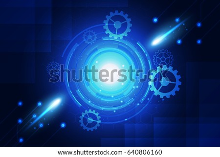 blue background abstract technology communication concept with gearwheel and network lines.vector #640806160