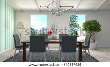 Interior dining area. 3d illustration #640859425