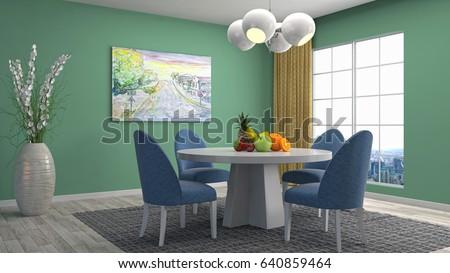 Interior dining area. 3d illustration #640859464