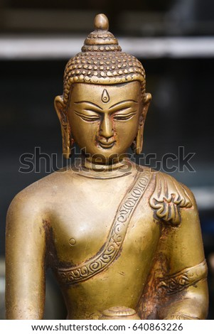 Bronze statue of Buddha in meditation position, India. Founder of the Indian religion Buddhism. #640863226