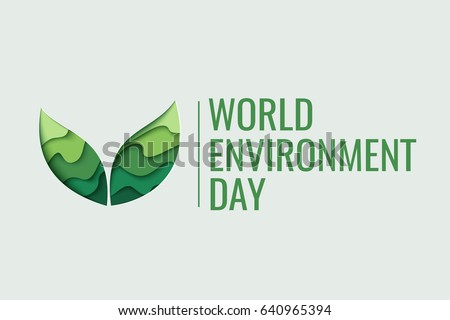 World Environment day concept. 3d paper cut eco friendly design. Vector illustration.  Paper carving layer green leaves shapes with shadow Royalty-Free Stock Photo #640965394