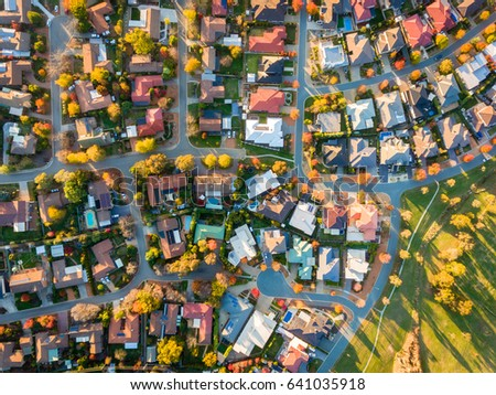 Aerial view of a typical suburb in Australia Royalty-Free Stock Photo #641035918