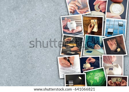 Business and entrepreneurship photo collage over gray concrete background #641066821