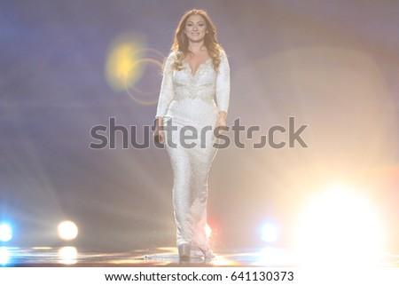 KYIV, UKRAINE - MAY 10, 2017:  Claudia Faniello from Malta at the second semi-final rehearsal during Eurovision Song Contest, in Kyiv, Ukraine #641130373