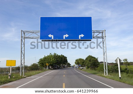 Blank road sign on highway road