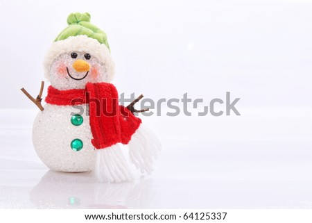 Cute snowman over white background. Christmas Card