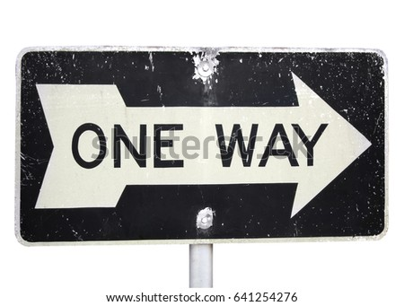 ONE WAY road sign with large arrow.