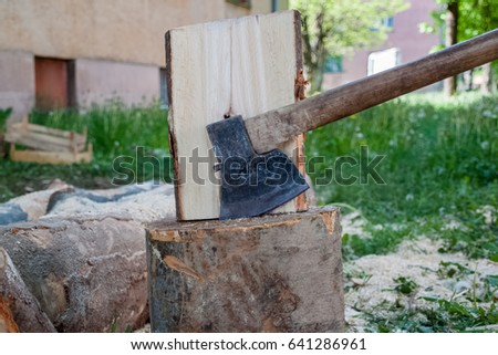 Ax pinned in the stump, cuts of trees, firewood, preparing for cold days, chopping wood #641286961