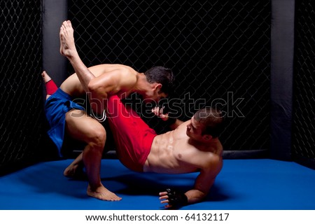 Mixed martial artists fighting Royalty-Free Stock Photo #64132117