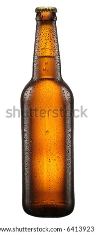 Beer bottle with drops on white background. File contains clipping path. Royalty-Free Stock Photo #64139239