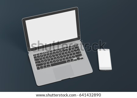 Blank screen laptop and smartphone isolated on black background with clipping path. 3d illustration #641432890