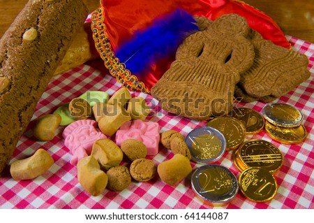 Traditional Sinterklaas candy with hat of Black Piet #64144087