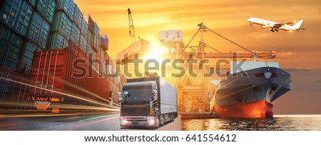 Logistics and transportation of Container Cargo ship and Cargo plane with working crane bridge in shipyard at sunrise, logistic import export and transport industry background #641554612