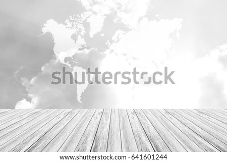 Nature cloudscape with sky and white cloud with Wood terrace , process in white style, Map