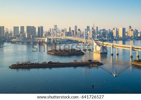 Tokyo skyline with Tokyo harbor in Japan.