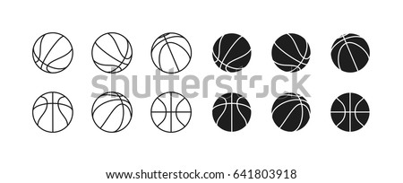 Basketball ball Minimalistic Flat Line Stroke Icon Pictogram Illustration Set Collection. 6 different views