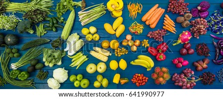 Flat lay fresh  fruits and vegetables for background, Different fruits and vegetables for eating healthy, Colorful fruits and vegetables on blue plank background #641990977
