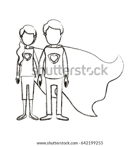 blurred silhouette caricature faceless full body couple youngs super hero with uniform and cap vector illustration #642199255