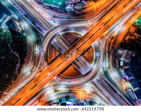 Aerial view Road roundabout with car lots in the city in Thailand cityscape #642214798