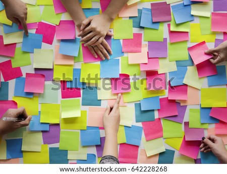 People Hands Hold Note Post It Royalty-Free Stock Photo #642228268
