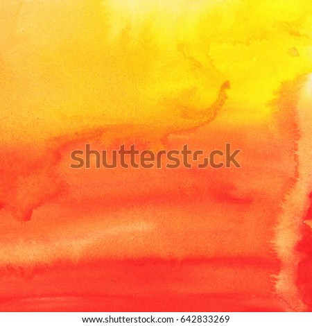 Abstract painted yellow and orange mixed watercolor background. #642833269