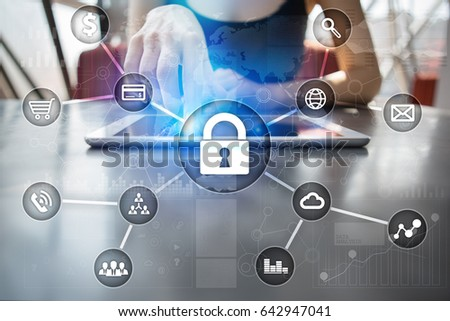 Cyber security, Data protection, information safety and encryption. internet technology and business concept.  Virtual screen with padlock icons. #642947041