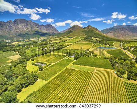 Franschoek winelands and mountain countryside South Africa Royalty-Free Stock Photo #643037299