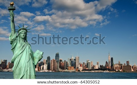 photo tourism concept for beautiful new york city skyline #64305052