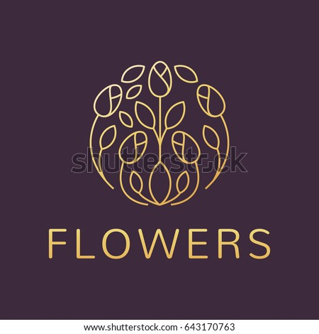 Floral logo. Flower icon. Floral emblem. Cosmetics, Spa, Beauty salon, Decoration, Boutique logo. Luxury, Business, Royal Jewelry, Hotel Logo. Interior Icon. Resort and Restaurant Logo. #643170763