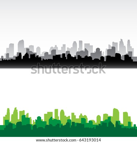 City building silhouette. Cityscape background vector  Royalty-Free Stock Photo #643193014