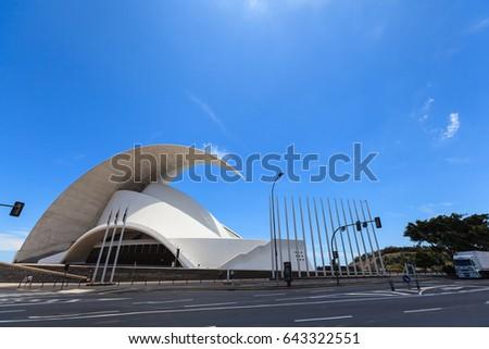 Santa Cruz de Tenerife, Spain - May 03, 2012: Auditorio de Tenerife - futuristic and inspired in organic shapes, building designed by Santiago Calatrava #643322551