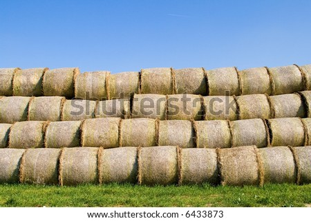 They are wheat bales waiting for transport. #6433873