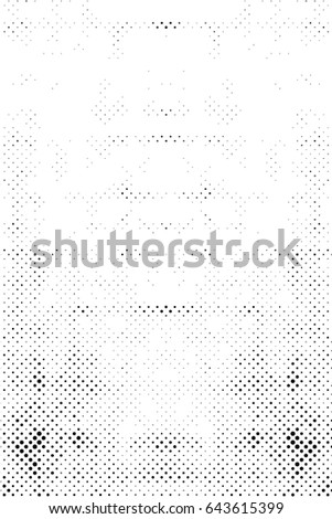 Grunge Halftone Vintage Vector Background. Ink Dots Texture Design Element. Easy To Create Abstract Dirty, Damaged,  Dotted, Spotted, Circles Effect. Aging Dots Overlay. Round Particles Backdrop  #643615399